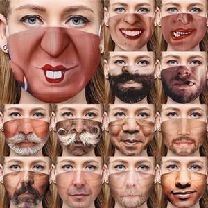 Lustige 3D Human Face Mask staubdichte Art und Weise Druck Baumwolle Masken Waschbar Wiederverwendbare Cycling Maske DHL-freies Verschiffen OWE613