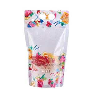 New Design Plastic Drink Packaging Bag Pouch for Beverage Juice Milk Coffee, with Handle and Holes for Straw Plastic Drink Packaging