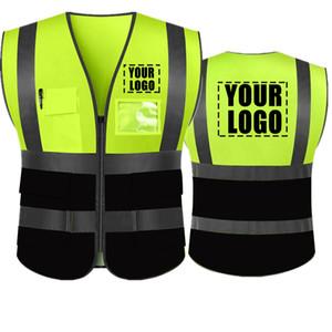 Adicione seu texto Nome em alta visibilidade reflexiva Segurança Vest classe 2 ANSI personalizado seu texto para Protecção 5 bolsos com Reflective Str