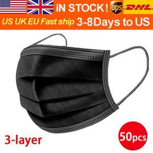 DHL / UPS 3-8 jours pour nous / UE 50pcs avec boîte jetable masque à visage avec boucle d'oreille élastique 3 plis respirant air anti-pollution