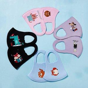 Maschera del fumetto stampato animale bambini affrontano riutilizzabile lavabile del ghiaccio del cotone di seta della bocca maschere antipolvere maschere Designer Bambini Ventilare UV a prova di