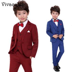 Flowers Boys Formal Suit Wedding Party Dress Kids Blazer Vest Pants 3pcs Tuxedo Set Children Performance Costume Clothing Set