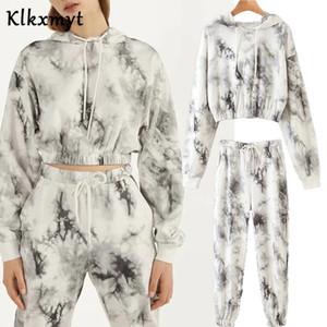 Klkxmyt Sets Women High Street Vintage Tie-Dyed Print Hoodie Women Sweatshirt And Jogging Trousers Women Pants Two Pieces Set X0924