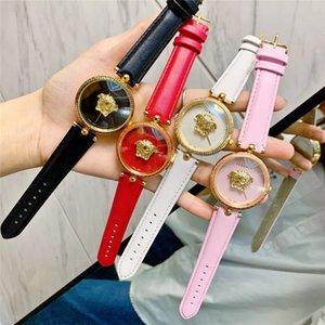 reloj de la venta superior Nueva correa de cuero rosa niña vestido de las mujeres Relojes de moda deportiva reloj de cuarzo para mujer dama hembra Montre Relógio Damas