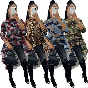 X9219 Fall fashion print stitching big swing T-shirt tops hot style European and American women's clothing 2020