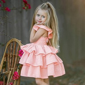 Toddler Baby Girl Plaid Straps Outfits Ruffles Sleeveless Sundress Dress Clothes roupa de bebe graceful and sweet July 20