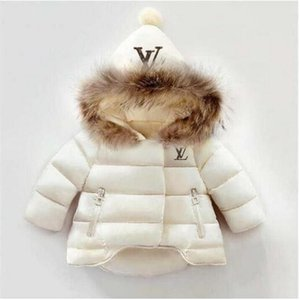 LLUIVT Buchstabe-Druck Kind-Mantel-Baby-Mädchen-Winter-Mantel-Größe 1-6T Kinder Wintermantel Kids Down-Baumwollmäntel Kaninchenhaar Collar