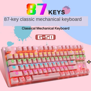 G50 Mechanical Keyboard Wired Gaming Keyboard RGB Backlit Anti-ghosting Blue Red Switch For Game Laptop PC Russian US