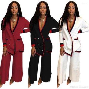 Брэстед Топы Длинные брюки костюмы моды для женщин 2pcs Подходит блейзеры Брюки Спортивные костюмы Свободна