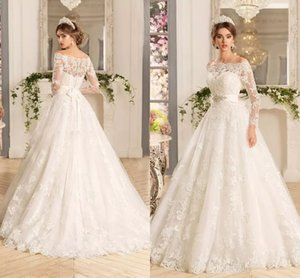 Custom Long Sleeves Lace Appliques Wedding Dresses 2020 with Beads Sash Sweep Train Tulle Wedding Bridal Gowns