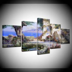 Leinwand-Malerei Landschaft Garten am Meer 5 Stück Wand-Kunst-Malerei Modular Tapeten-Plakat-Druck Home Decor (kein Feld)