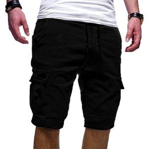 2020 Brand New Men's Casual Shorts cotton Short Pants For Men Pure Color Drawstring Knee Length Beach Short Slacks