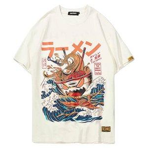 일본어 하라주쿠 T 셔츠 남성 2020 여름 힙합 T 셔츠 국수 선박 만화 스트리트 티셔츠 반팔 캐주얼 상단면