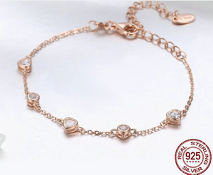 Europe Fashion Heart Simple Life Style 925 Sterling Silver Rose Gold E-Plating Zircon Prong Setting 22cm Snake Chains Women Bracelets