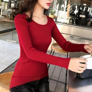 2019 Round neck sweater womens long section sweater Knitwear autumn winter new tight fitting long sleeved Slim bottoming shirt