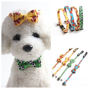 new Pet collar ball series cat collar football tennis basketball bow dog collar Dog Supplies Christmas decorations T2I51530
