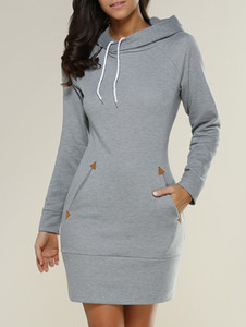 Moda mujeres camiseta de manga larga con capucha vestido con capucha de Corea más el tamaño XL Otoño delgado con capucha Mujer