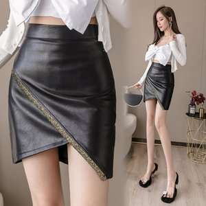 COIGARSAM Sexy Women Short Skirt New Skirts Black 2063