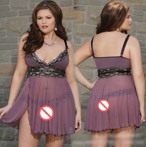Plus Size Frauen reizvolle Wäsche schnürt Babydollchemise Porno Sex Unterwäsche Kleid Transparent Haltter Erotische Dessous Sexy Kostüme