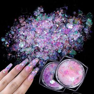 1 Flasche AB Farbe New Nail Flakes Paillette Schmetterlings-Herz-Holographic Mermaid Glitter für Nail Art Powder 3D-Scheiben-Dekorationen