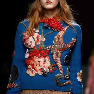 2020 Pist Tasarımcı Mavi Kuş Nakış Kadın Triko Kazaklar Kış Noel Boncuk Örgü Jumper Giyim