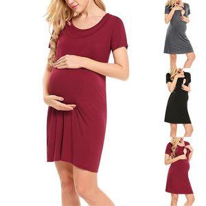 bunvel Emzirme Elbise Kısa Kollu Katı Renk hamile elbisesi O Boyun Kadın Hamilelik Hemşirelik Giyim Yaz vestidos