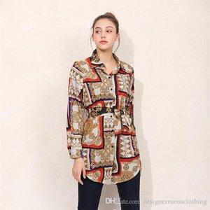 Блузы Лето Сыпучие кнопки Printed отворотом шеи рубашки с длинным рукавом женская партия Улица Одежда Bowknot Кардиган Женщины