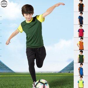 200pcs Дети Влагоотведение Quick-Dry T-Shirt, высокая упругость дышащие против морщин с коротким рукавом Top, мальчик Спортивных Фитнес Сыпучей рубашка