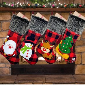 Christmas Party Socks Festival Party Xmas Tree Hanging Decor Ornaments Decor Hosiery plush Xmax Socks kidss Gift Candy Bags