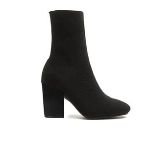 botas de tacón mujer zapatos atractivos en otoño e invierno de punto botas elásticas calcetines gruesos del talón botas de tacones altos de la señora letra de gran tamaño 35-42
