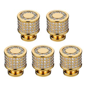 Luxury 24K Real Gold Czech Crystal Brass Round Cabinet Door Knobs and Handles Furnitures Cupboard Wardrobe Drawer