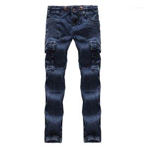 Карандаш джинсы Regular Середина талии Дизайнерские мужские брюки хлопок Tether Мужской Одежда Синий с плиссированной Mens