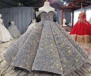 Luxus-Silber Bling Sequin Mädchen-Festzug-Kleider Fluffy weg von der Schulter mit Rüschen besetzte Blumenmädchenkleider Ballkleider Partei-Kleider für Mädchen