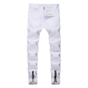 Los hombres flaco Mendigo Jeans tobillo Cremallera rasgado cadera destruida Costura de motor de alta calidad Hop delgadas para hombre del motorista los pantalones vaqueros