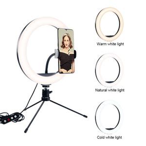 Dimmerabile Led 26inch Luce Video Foto Studio Camera Light Ring Telefono anulare della lampada Con Treppiedi selfie Stick anello Fill Luce