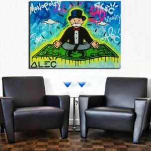 Alec Monopoly arte del graffiti Magic Carpet Decoración pintado a mano la impresión de HD pintura al óleo sobre lienzo de arte cuadros de la pared de lona 200818