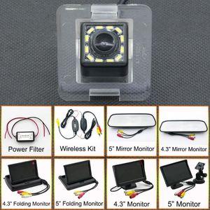 12LED Car CCD Backup Rear View Camera Parking Mirror LCD Monitor Wireless For GLK Class X204 GLK250 GLK320 GLK350
