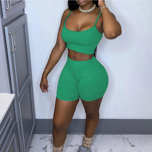 Women's Two Piece Gymn Trainning Exercise Set Summer Solid Color Sleeveless Crop Top High Waist Skinny Short Sport Tracksuit#g4
