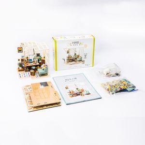 محطة Robotime DIY الآيس كريم مع أثاث الأطفال الكبار مصغرة خشبي بيت الدمية بناء نموذج دمية لعب DGM06 CX200815