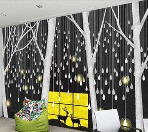 CJSIR personalizada pared grande pintor con la nórdica minimalista Noche Millones de gotas de luz de fondo Bosque Ciervo del papel pintado de la decoración uDM8 #