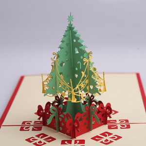 2pcs Xmas Card Gift 3D Stereo Greeting Card Christmas Tree Birthday Blessing Handmade New Year Greeting Business AB405
