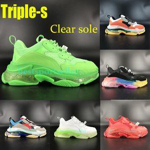 Coppie Comfort Triple s chiare Platform Shoes suola verde neon rosso bianco nero palestra uomini blu tennis casuali sole arcobaleno scarpe da donna rosso