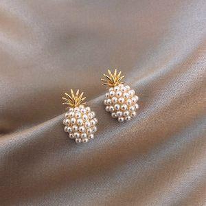 Yeni Geometrik Inci Kadınlar Klasik Saplama Küpe Ananas Inci Küpe Kadın Moda Küpe Kadın Takı