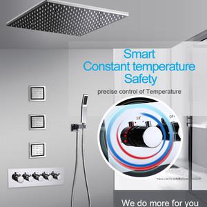 20 인치 오버 헤드 LED 천장 조명 비 스파 샤워 헤드 세트 욕실 5 기능 온도 컨트롤러 샤워 헤드 (3) 벽 바디 스프레이