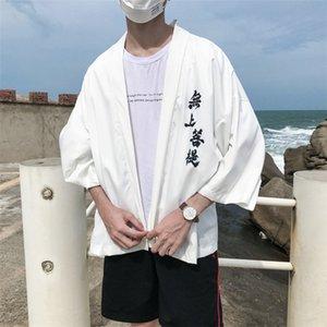 delgada recortada de la manga kimono protector solar ropa y traje de Tang estilo túnica suelta la rebeca del verano del kimono de los hombres Tang capa del juego