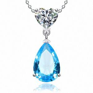 925 Sterling Silver Colares para mulheres simples Sapphire / Ruby Water Drop nupcial do casamento Fine Jewelry Pendant Nenhuma corrente f2ub #