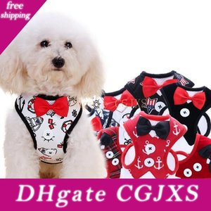 Brasão Small Dog Harness Tecido Dog Vest Vestido borboleta Bow Tie filhote de cachorro trelas Verão Pet Vestuário 12 Designs Dhl gratuito Yw1117