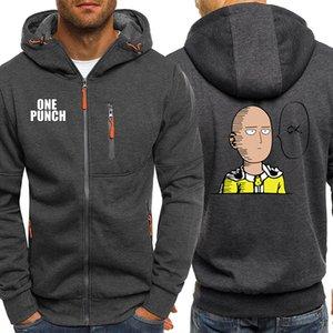 One Punch Mens Sports Hoodie Zip Autumn Fleece Warm Outwear Fashion Clothes Male Biker Tracksuit Hip Hop Print Brand Jackets Men