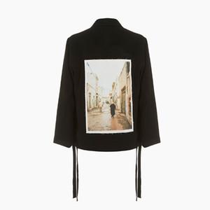 20SS Ilustração da fita remendo Jacket Primavera Outono Moda New Style Outwear Casual High Street Preto Vintage Casacos Outdoor HFYMJK353