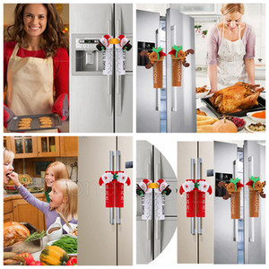 Рождественский стол Ручка крышки Санта снеговика двери перчатки Холодильник Духовка Защитная крышка Xmas кухни Новогодние украшения RRA3454